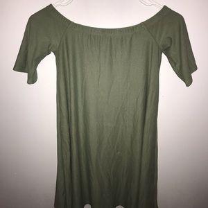 Green off the shoulder tee shirt dress